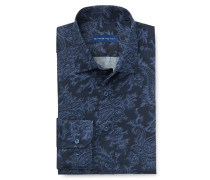 Casual Hemd schmaler Kragen dunkelblau gemustert