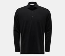 Longsleeve-Poloshirt 'Luca' schwarz