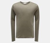 HerrenLeinen Rundhals-Pullover 'Caius' graugrün