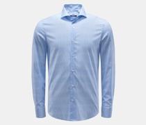 HerrenCasual Hemd 'Sean' Haifisch-Kragen rauchblau/weiß