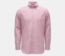 HerrenCasual Hemd Button-Down-Kragen bordeaux/weiß