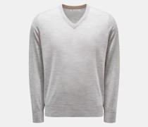 HerrenFeinstrick V-Ausschnitt-Pullover hellgrau
