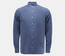 HerrenLeinenhemd 'Aamilcare' Grandad-Kragen graublau