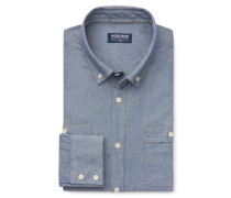 Chambray-Hemd Button-Down-Kragen blau