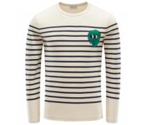 R-Neck Sweatshirt beige/navy gestreift