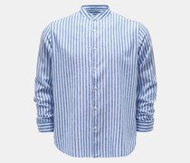 Casual Hemd Grandad-Kragen dunkelblau/weiß