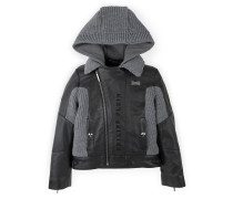 """hooded tricot leather jacket """"atomic"""""""