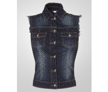 "denim vest ""hot choc"""