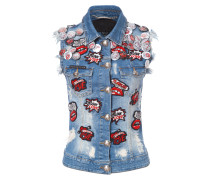 "denim vest ""lips to lips"""