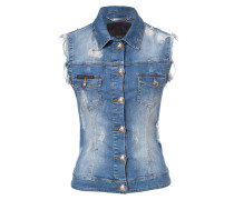 "denim vest ""big kisses"""