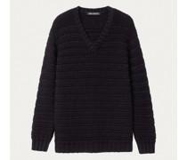 Cashmere/Seide Pullover mit Streifenstruktur