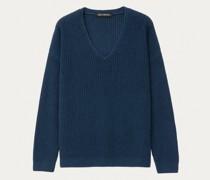 Cashmere/Seide Pullover mit V-Ausschnitt