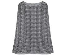 Seiden Mix Blusenshirt Schwarz Muster