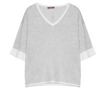 Pullover V-Ausschnitt Kurzarm Hellgrau Weiß