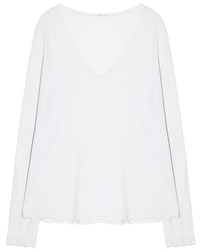 Baumwoll Shirt Langarm V Ausschnitt