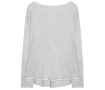 Pullover Rückenfalte Kaschmir Mix Hellgrau Weiß