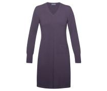 Cashmere Kleid V-Ausschnitt Aubergine