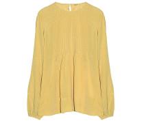 120%Lino Seiden Mix Bluse Gold Senf