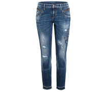 Jeans Laurie Zip Strass Motiv Vintage Destroyed