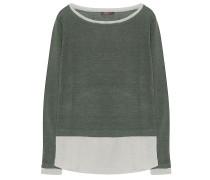 Leinen Pullover Oliv Weiß