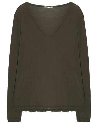 Baumwoll Shirt Langarm V Ausschnitt Smoky Green