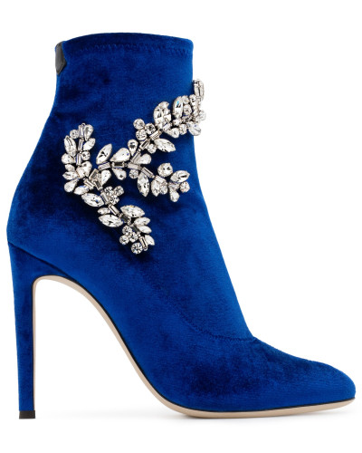 Giuseppe Zanotti Damen Blue velvet stretch fabric boot with crystals CELESTE CRYSTAL Günstig Kaufen 100% Original Steckdose Billigsten E6QVyAZK
