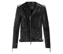 Black crocodile embossed velvet jacket KIAN