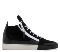 Black calf leather and black suede mid-top sneaker JESS