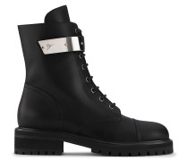 Black calfskin leather boot with silver-plated metal ALEXA