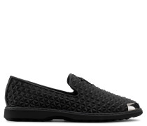 Black 3D printed leather loafer with metal tip CEDRIC MANHATTAN