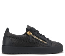 Python-embossed leather low-top sneaker NICKI