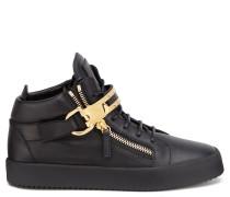 Black calf mid-top sneaker OWEN