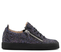 Black fabric and leather sneaker with glitter GAIL GLITTER
