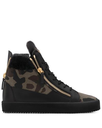 Giuseppe Zanotti Herren Camouflage fabric sneaker with ram fur COLE Spielraum Authentisch Billige Mode Geschäft Zum Verkauf 1p1IA8