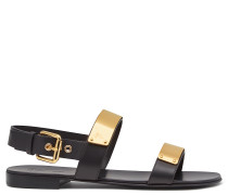 Black calfskin sandal with metal plates ZAK