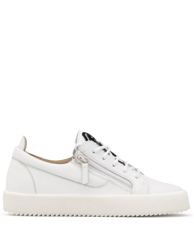 White calfskin leather low-top sneaker with logo GAIL