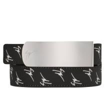 Black calfskin and white logo motif belt LANE SIGNATURE