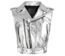 Silver laminated nappa sleeveless jacket AMELIA BRIGHT