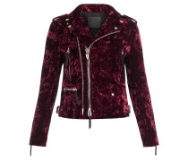 Burgundy velvet motorcycle jacket AMELIA
