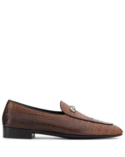 Giuseppe Zanotti Herren Brown crocodile embossed leather loafer ARCHIBALD CLASSIC Outlet Mode-Stil SjPXOB
