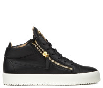 Black nappa leather mid-top sneaker DANIEL