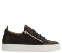 Black python-printed leather low-top sneaker NICKI