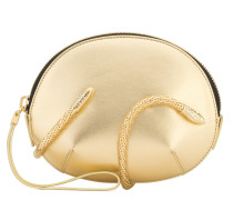 Goldfarbene Lackleder-Clutch mit Schlangen-Accessoire ALEESHA