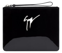 250x200 mm black patent leather clutch MARGERY