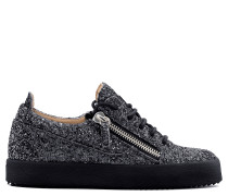 Grey fabric and leather sneaker with glitter GAIL GLITTER