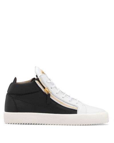 Black and white calfskin leather mid-top sneaker KRISS