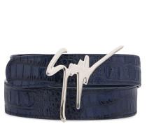 Blue crocodile embossed calfskin belt GIUSEPPE