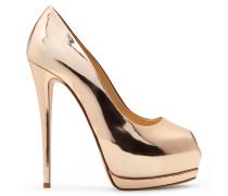Mirrored pink gold open-toe pump SHARON