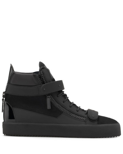 Black calf hair high-top sneaker with fur inside COBY