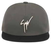 Grey fabric and black leather hat KENNETH